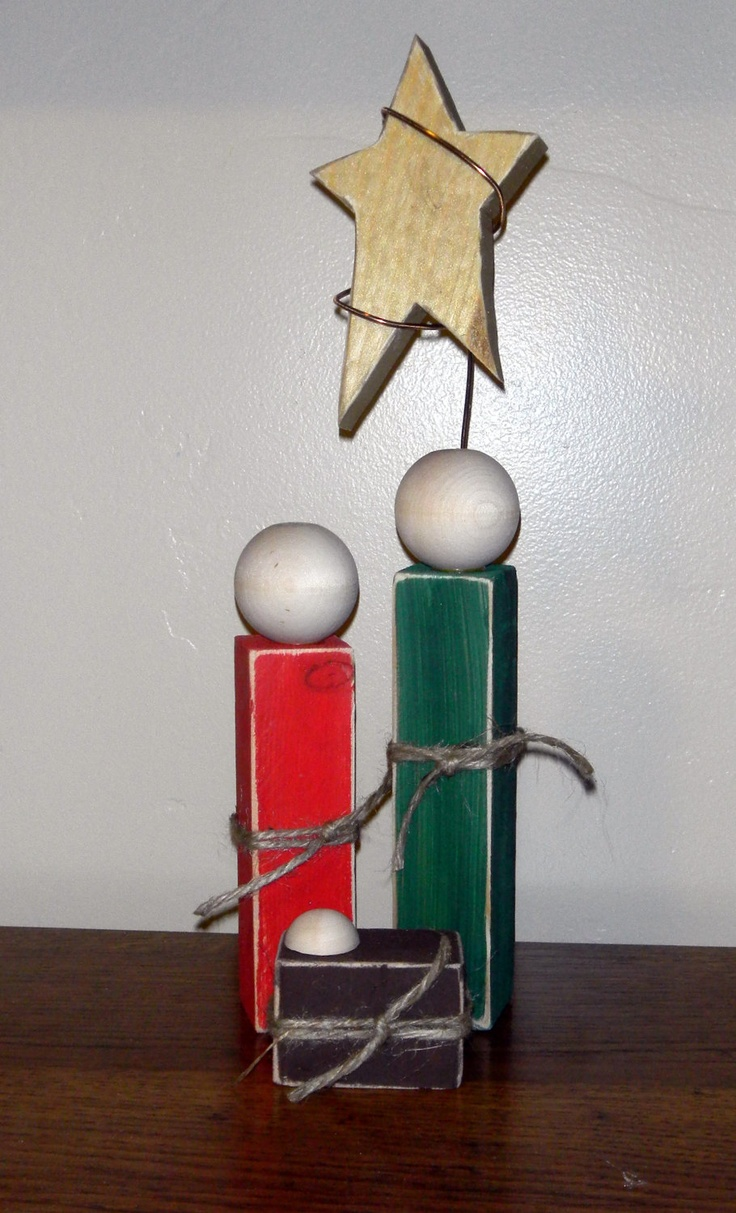 Simple Wooden Nativity Set  -