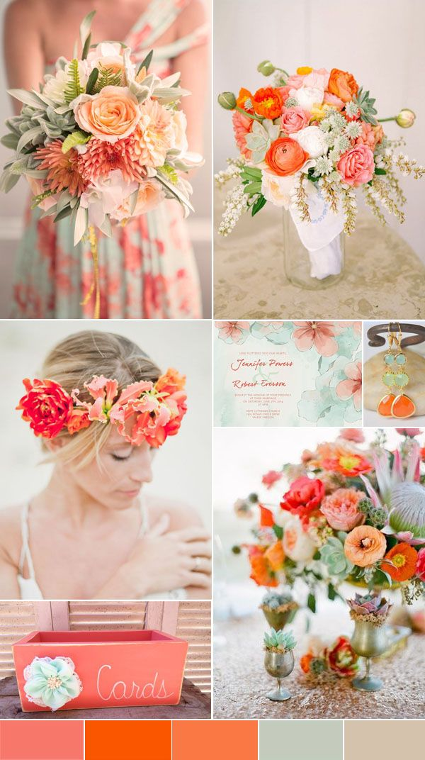 coral and mint floral bohemian wedding ideas with foral printed bridesmaid dresses