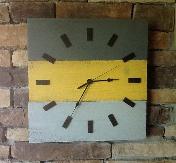 Wood clock Rustic wall clock yellow and by HendryxHouseDesigns, $33.00