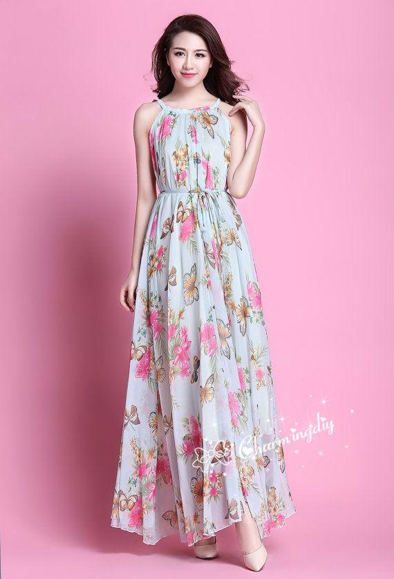 60 couleurs mousseline de soie papillon fleur rose longue