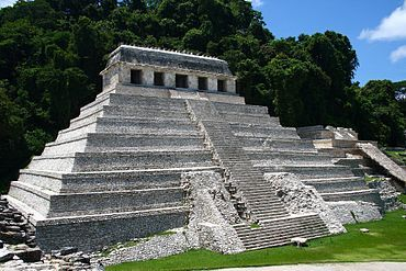 Palenque Temple Of The Inscriptions, 675AD, Mexico  The Temple of the Inscriptions is the largest Mesoamerican stepped pyramid structure at the pre-Columbian Maya civilization site of Palenque, located in the modern-day state of Chiapas, Mexico. The Temple has been significant in the study of the ancient Maya, owing to the samples of hieroglyphic text found on the Inscription Tablets, the sculptural panels on the piers of the building, and the finds inside the tomb of Mayan ruler Pakal.
