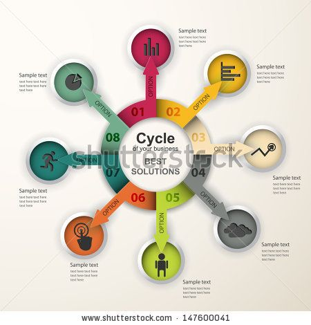 Abstract infographics. Vector data pattern of cyclical processes, stages. Creative design. - Shutterstock Premier