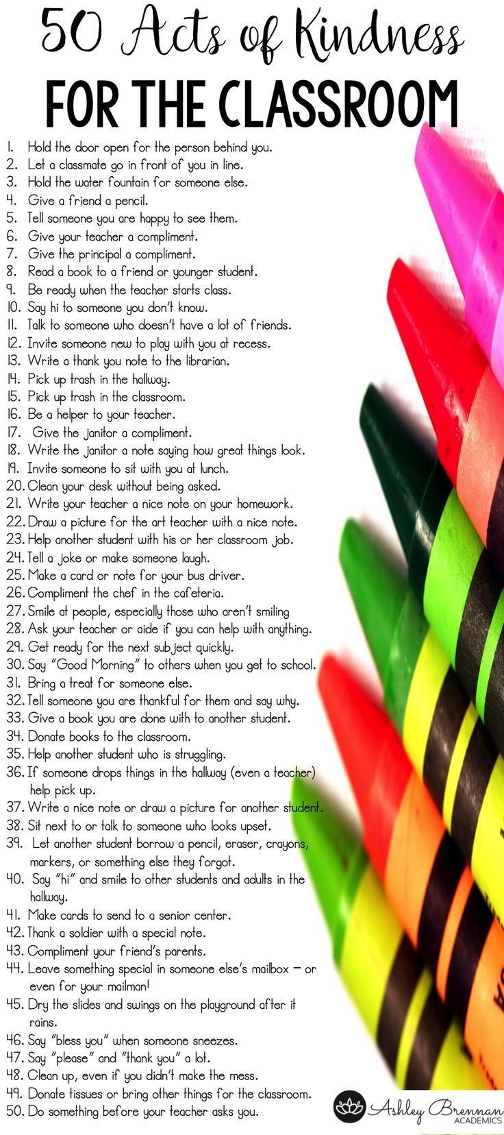 BEAUTIFUL!!! 50 acts of kindness for the classroom! These 50 ideas are meant specifically for students to use at school.
