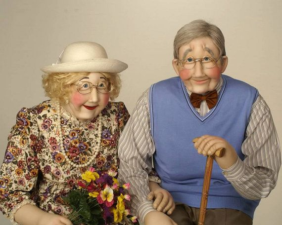 Elderly Couple Grand Parents Art Soft Sculpture life size doll. Carefully hand crafted life sized doll figures such as this Elderly Couple Grandparents Soft Sculpture piece are constructed with a lightweight frame and are covered with cotton, to insure movable joints and balance