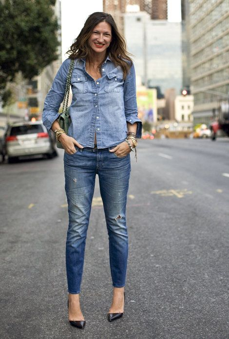 Jenna Lyons donned a head-to-toe denim look with black patent-leather pumps.Source: Phil Oh: Jenna Lyons donned a head-to-toe denim look with black patent-leather pumps.Source: Phil Oh