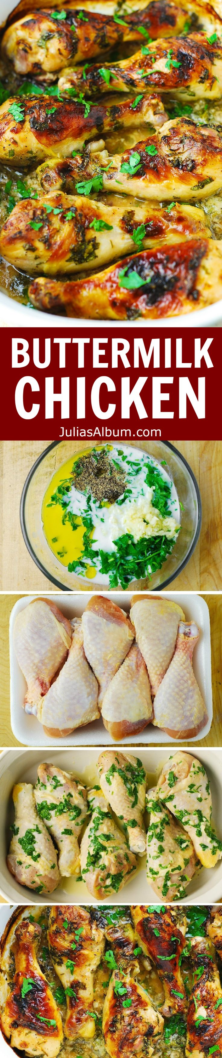 Buttermilk Baked Chicken - crispy on the outside, and the meat is moist and flavorful!