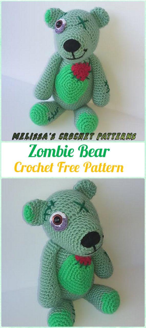 Amigurumi Crochet Zombie Bear Free Pattern - #Amigurumi Crochet Teddy #Bear Toys Free Patterns
