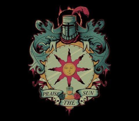 Solaire of Astora that optimistic knight on a undead's world.  Praise the sun! @teefury