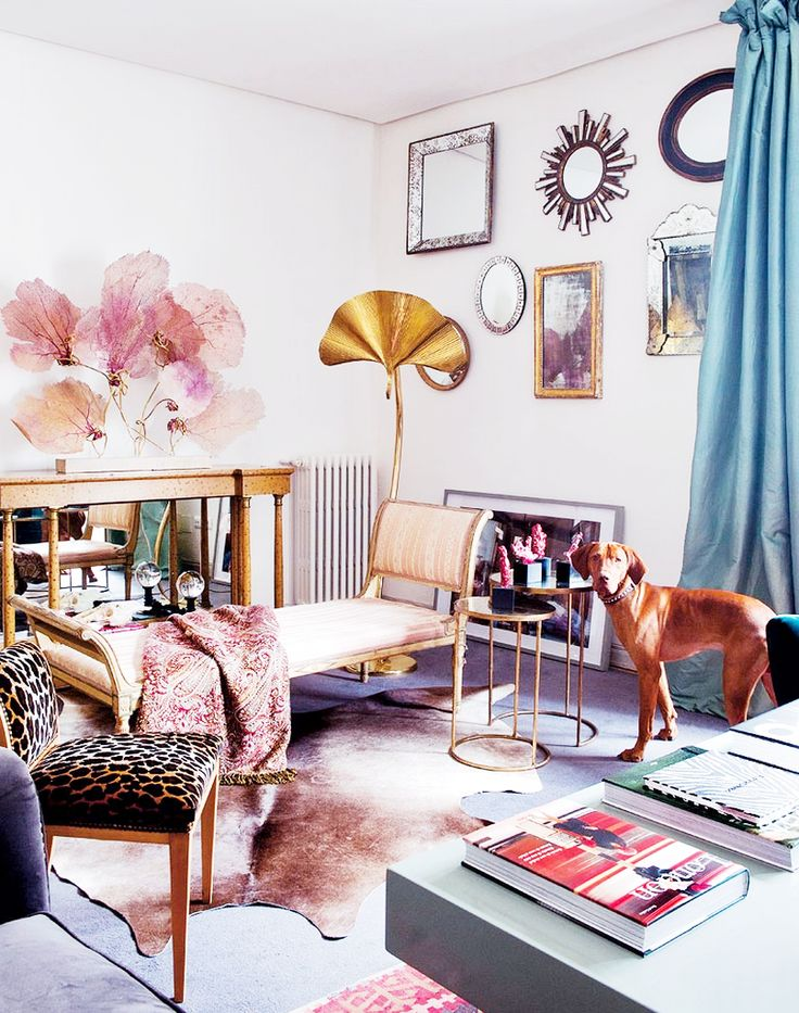 Tour a Fashion Designers Feminine Abode// soft pinks and browns: Designer'S Feminine, Interiors, Spanish Abode, Living Room, Design Feminine, Collection Piece, Home Decor, Fashion Designer'S, Fashion Designers