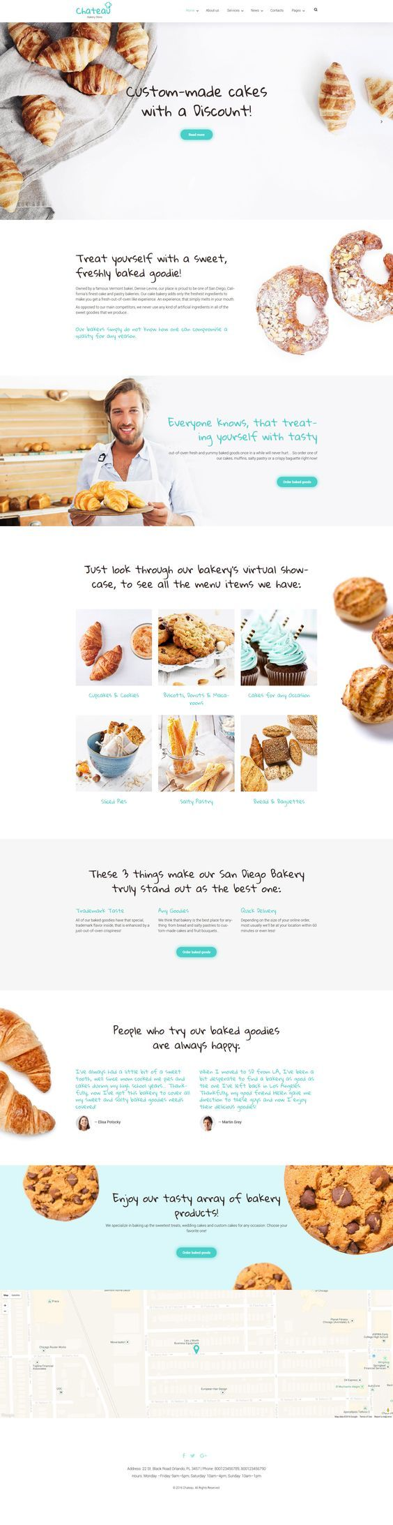 Chateau is a well-coded bakery WordPress template licensed under GPL v3.0. The theme is built with Power, i.e. TemplateMonster's custom drag-and-drop page builder pre-loaded with 25+ modules, a library of presets, and more features providing for a seamless customization of the layout. Bold, mouthwatering images of pastry lure the attention of the true gourmets. Hand-written fonts add a touch of personality to the template. Logo, headlines, CTAs, and navigation elements are built in tiffany…