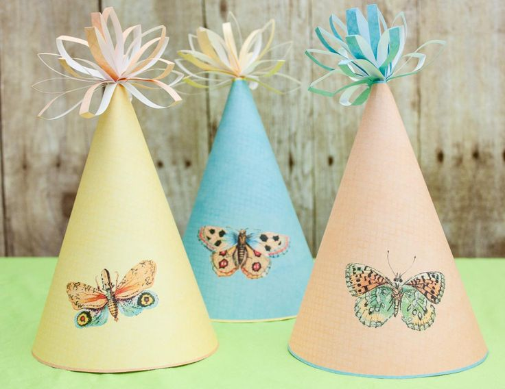 Fly Free Butterfly Party Printable Hats - Party Printables , party favors , party decorations , party ideas , butterfly party #artcoffeewords #party #printable #printables #favor #decorations #ideas