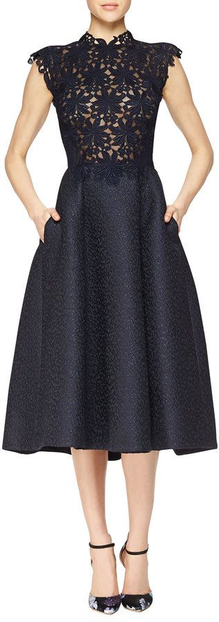 Monique Lhuillier Guipure Lace & Jacquard Fit-And-Flare Dress