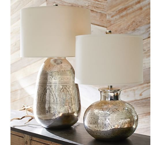 Elin Etched Metal Lamp Base | Pottery Barn -- I love the one on the right!