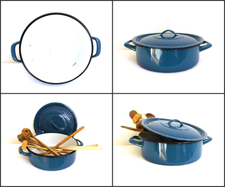 Rustic Vintage Enamel Pot with Lid Canning Casserole Handles Large Enamelware Cooking Sauce Container Blue Shabby Chic Kitchen Decor Set by WoodHistory on Etsy
