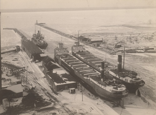 Goderich Harbour with three ships in port. January 14, 1925. Goderich Ontario.