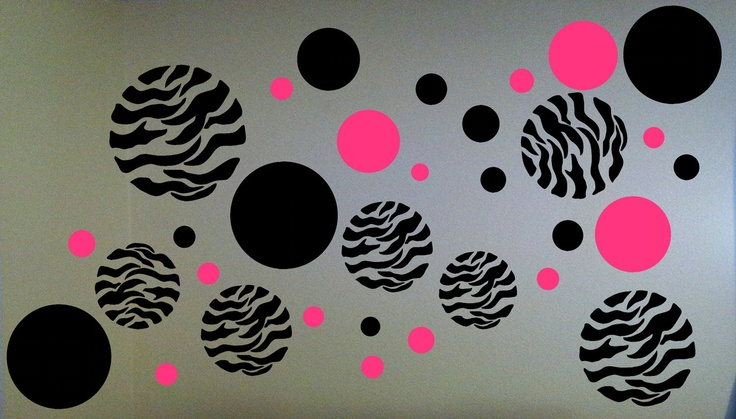 Thinking about these for baby gurls room <3     Zebra Print Dots Wall Decal by BigDDesign on Etsy, $10