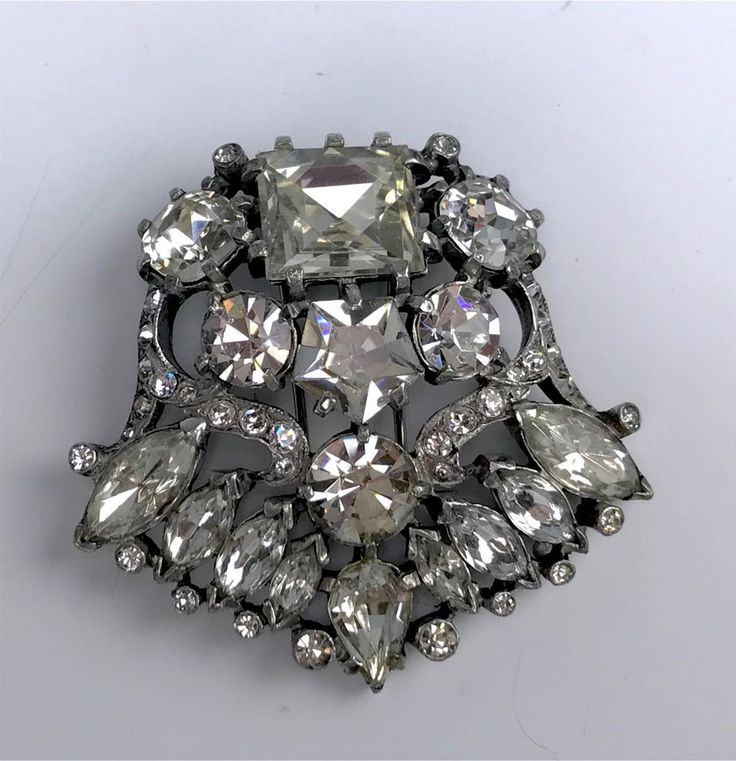 Vintage 1930s Signed Eisenberg Original Colorless Rhinestone Dress or Fur Clip  | eBay