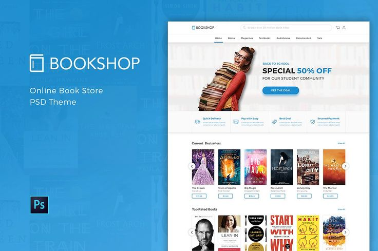 Bookshop - Online Book Store PSD by peterdraw on @creativemarket