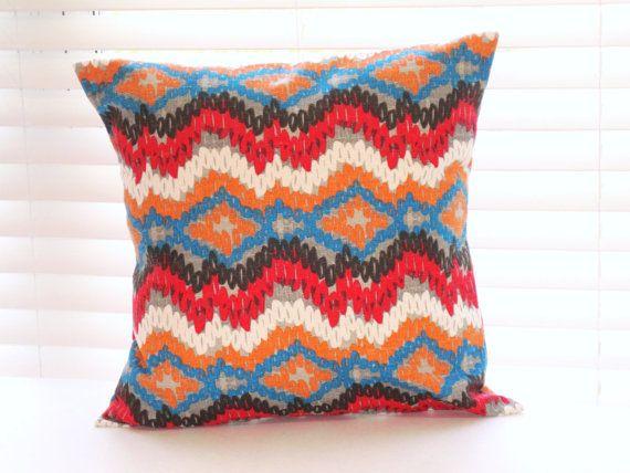 Pillows, Decorative Throw Pillows, Southwestern Decor, Cherry Red, Blue, Orange, Brown, Gray, Cream, Various Sizes on Etsy, £8.02