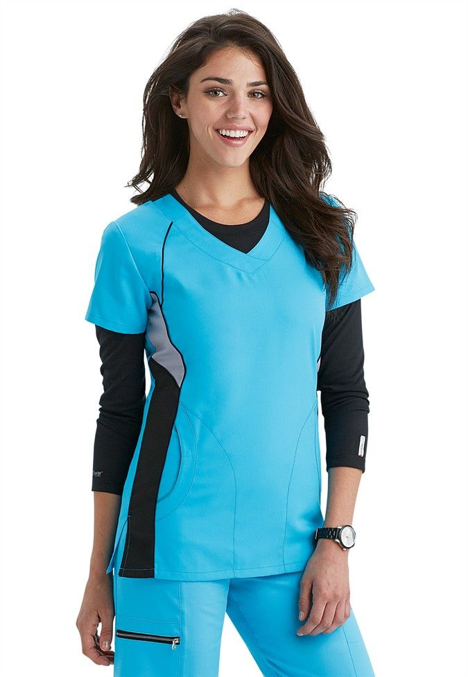 Greys Anatomy Active v-neck color block scrub top.  Super cute, looks slimming!