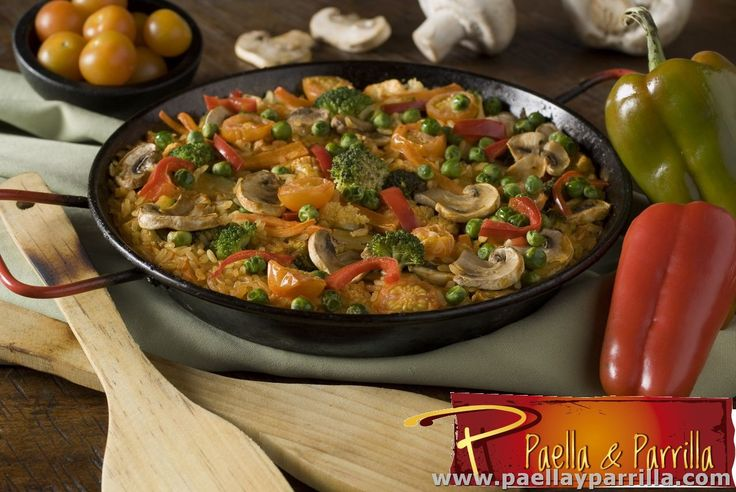 PAELLAS Paella vegetariana vegetariana1Aceitunas, pimentón, arvejas, tomates cherry, brócoli, coliflor, zanahoria, champiñones, y alcaparras, rehogados en aceite de oliva y tomate.  Porción 410 grs.
