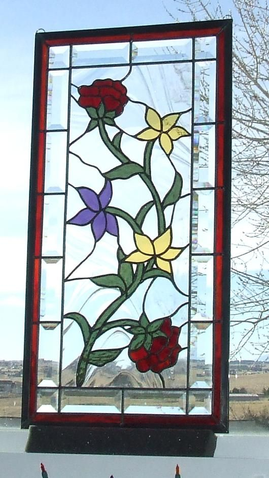 Simple Floral Stained Glass Panel - by Ladybug Stained Glass