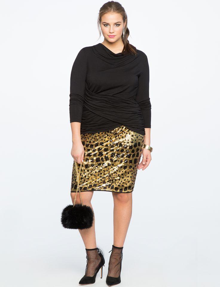 Leopard Sequin Column Skirt Leopard + Totally Black