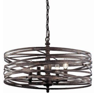 This chandelier ads a new twist to classic lighting design with its unique weathered band drum shade. It is versitile enough to compliment a small dining space, or be an accent piece in a much larger room.