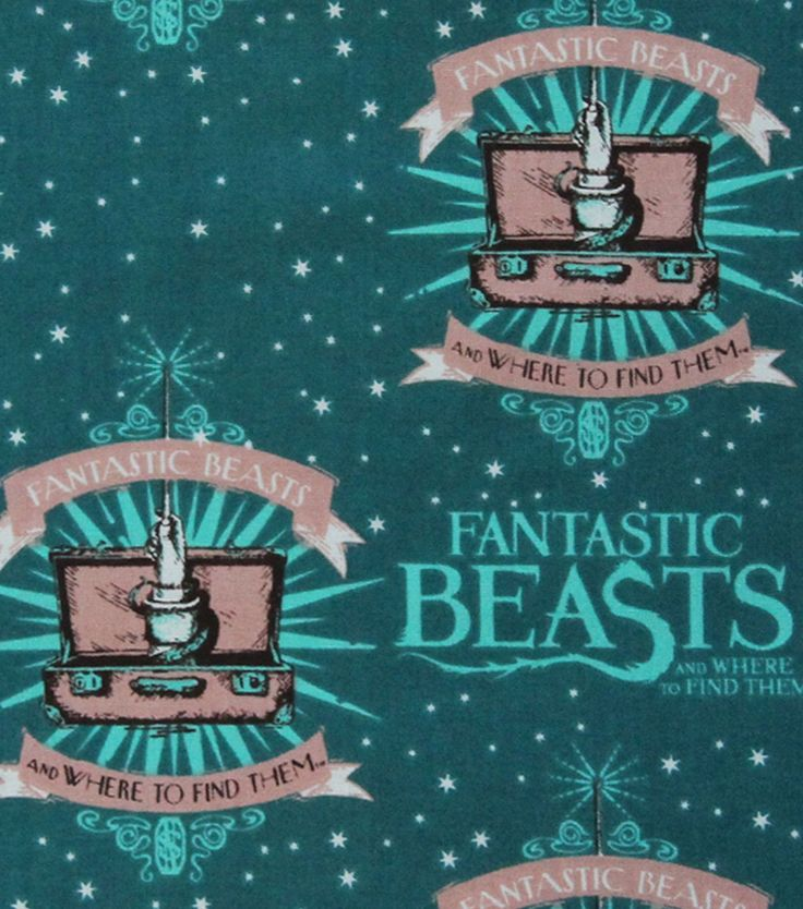 Fantastic Beasts Logo & Wand Cotton Fabric 43""