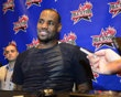 Eastern Conference forward LeBron James of the Miami Heat speaks to the media during a press conference at the Hilton Americas.