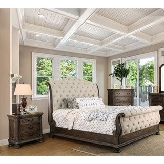 Furniture of America Brigette III Traditional 2-piece Ornate Rustic Sleigh Bed with Nightstand Set | Overstock.com Shopping - The Best Deals on Bedroom Sets