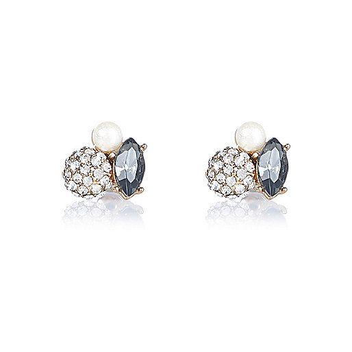 Gold tone cluster stud earrings