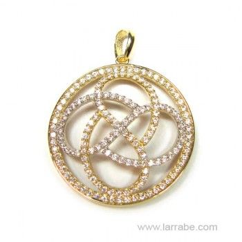 Colgante de oro blanco y oro amarillo con circonitas. En joyería Larrabe.  #joyería #mujer #colgante #oro