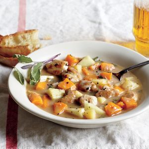 Chicken, Apple, and Butternut Stew | MyRecipes.com Cider, chopped apple, butternut squash, and parsnips lend appealingly forward sweetness to this fall harvest stew. Unfiltered apple cider has pectins that help thicken the stew. If you use filtered, clear cider, add another tablespoon of flour.