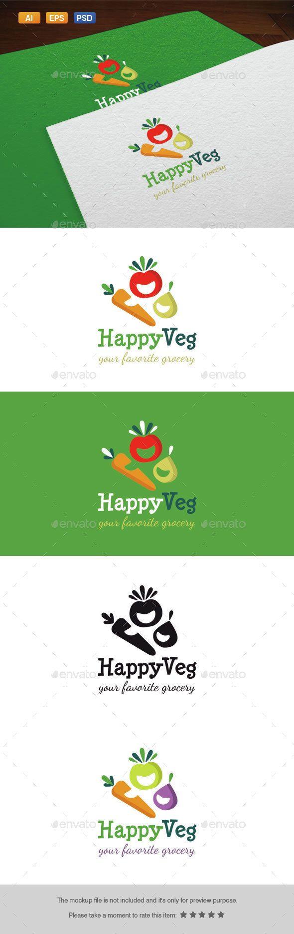 Happy Veg Logo Template PSD, Vector EPS, AI. Download here: http://graphicriver.net/item/happy-veg-logo/14575398?ref=ksioks