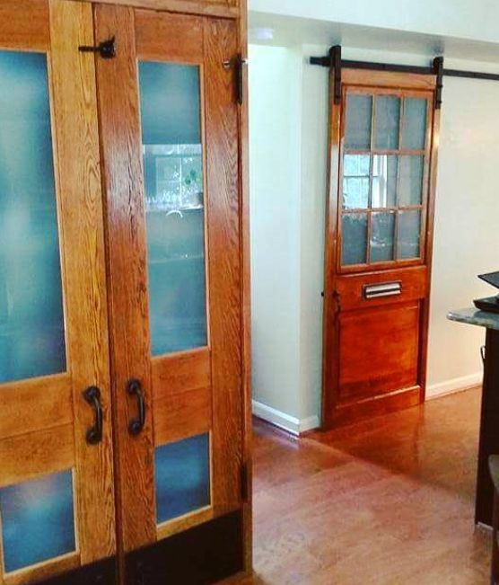 """How about a #MondayMakeover utilizing our salvaged doors?! We have many styles to choose from! ....... From customer Jane Lewis on our Facebook page: """"2nd salvaged door installed! Former life as an entry door for a Baltimore row house. Joins our pantry doors from a D.C. Public Library. Thank you Second Chance. Retrain. Reclaim. Renew."""" . #diy #doors #doorsofinstagram #salvaged #design #interiordesign #library #rowhouse #reclaimed #reuse #vintage #restoration #historicalpreservation…"""