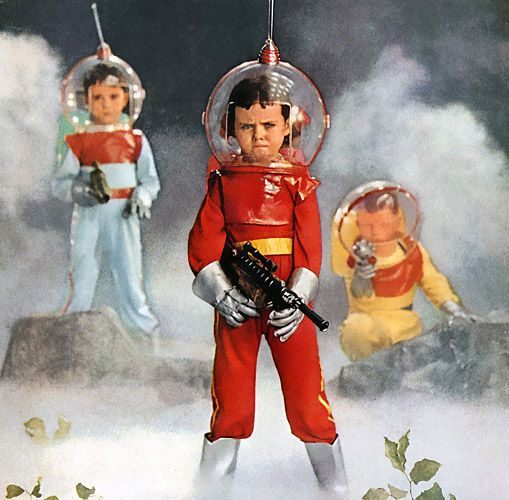 Tots are from Mars. These young Martian invaders from 1958 are looking for a home... via Vintagraph.