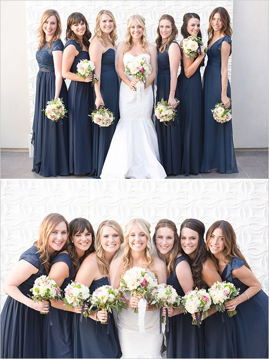 navy bridesmaid dresses @weddingchicks