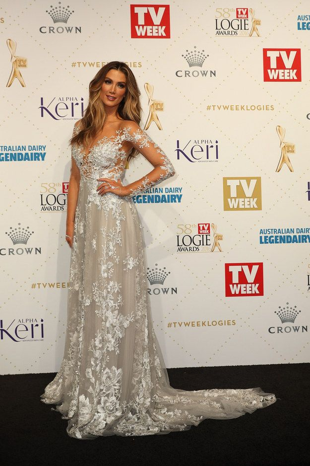 Delta Goodrem has once again slayed the Logies red carpet, turning up tonight in this regal AF platinum Paolo Sebastian gown. | Delta Goodrem's Ice Princess Gown Just Slayed The Logies Red Carpet