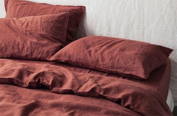 Rust Red Linen Bedding Set Light Maroon Linen Duvet Set Red Duvet Cover Maroon Bedding Red Duvet