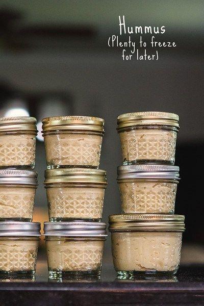 Hummus - makes plenty so you can freeze some!  www.sidewalkshoes.com