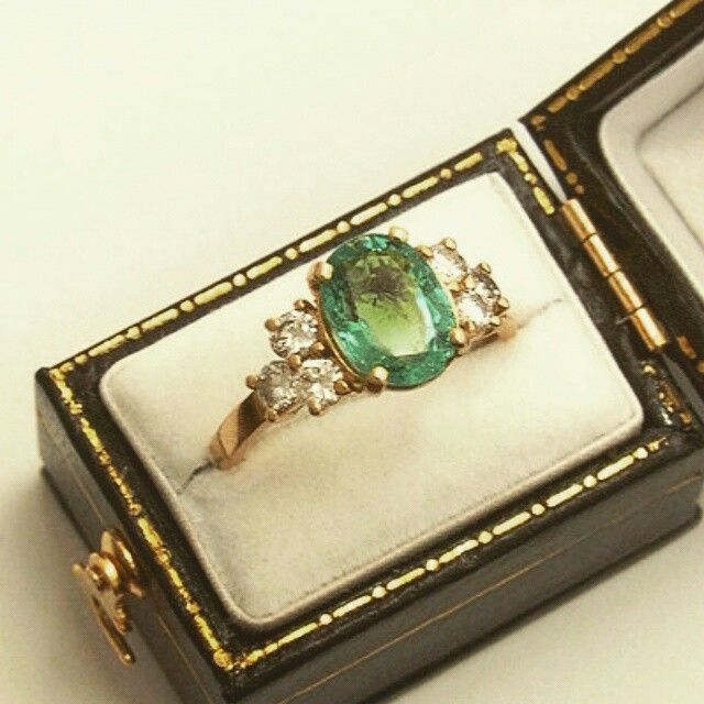 I love emeralds. Probably spawned from a childhood Wizard of Oz obsession.  This ring is so perfect it's unreal.  http://www.anthonygreen.com/detailofring2449.htm  #Emerald #Ring #vintage #engagement