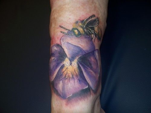 Insect Bee On Violet Flower Tattoo Design   Tattoobite.com