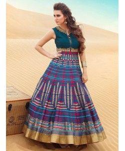 Bhagalpuri Digital Print Designer Anarkali Suit..