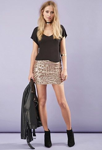 Sequined Abstract-Patterned Skirt | Forever 21 - 2000130016