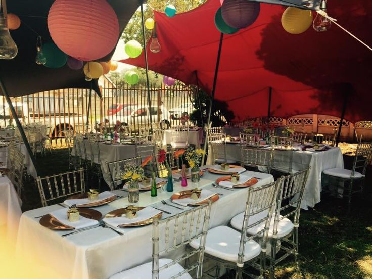 Colour full wedding table set-up for a traditional Tsonga wedding in South Africa