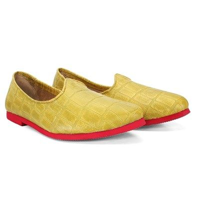 BUY LIME GREEN #CROCO PRINT LEATHER JALSA #SLIP-ON WITH RED SOLE BY BARESKIN for Rs.999/- @voganow.com