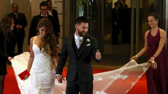 "Argentine football star Lionel Messi has married his childhood sweetheart in his hometown in what has been called the ""wedding of the century"".  A civil ceremony for Messi 30 and Antonela Roccuzzo 29 was held at a luxury hotel in the city of Rosario. Foot"