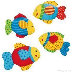 textilní rybka se šustící fólií, látková rybička, textilní hračky pro miminka, látkové hračky pro miminka, hračky z fleecu, fleecové hračky pro miminka, aktivní hračky pro miminka, chrastící hračky pro miminka - Dřevěné hračky, dřevěné dekorace, montessori hračky