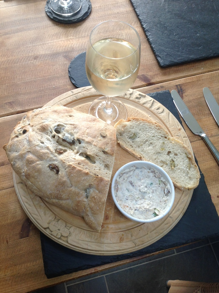 Sour dough olive bread with homemade smoked mackerel pâté.